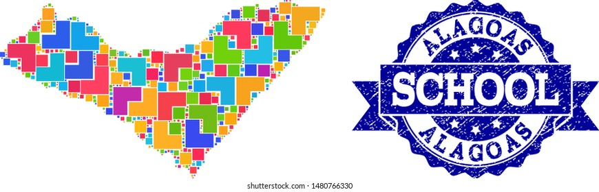 Mosaic puzzle map of Alagoas State and scratched school seal stamp with ribbon. Vector map of Alagoas State constructed with colorful square and corner blocks.