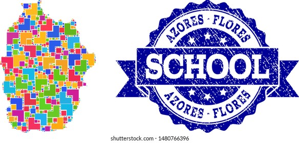 Mosaic puzzle map of Azores - Flores Island and scratched school stamp with ribbon. Vector map of Azores - Flores Island constructed with bright colored square and corner blocks.
