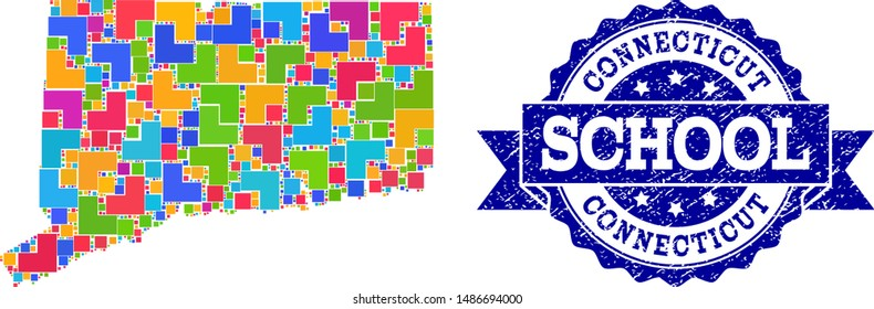 Mosaic puzzle map of Connecticut State and textured school seal stamp with ribbon. Vector map of Connecticut State designed with bright colored square and corner blocks.