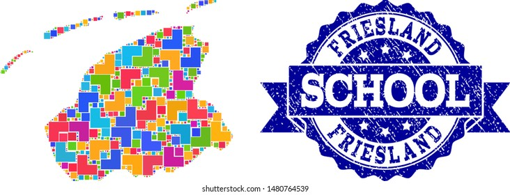 Mosaic puzzle map of Friesland Province and grunge school seal stamp with ribbon. Vector map of Friesland Province designed with colorful square and corner blocks.