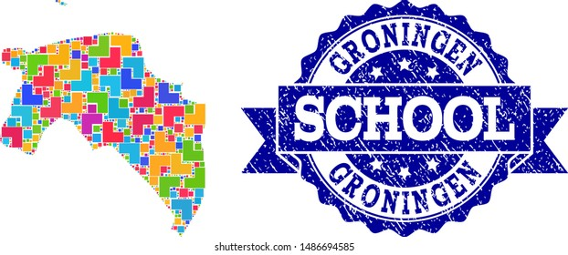 Mosaic puzzle map of Groningen Province and rubber school seal with ribbon. Vector map of Groningen Province constructed with bright colored square and corner blocks.