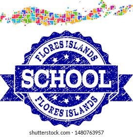 Mosaic puzzle map of Indonesia - Flores Islands and grunge school seal with ribbon. Vector map of Indonesia - Flores Islands constructed with bright colored square and corner elements.
