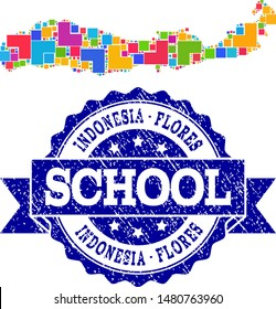 Mosaic puzzle map of Indonesia - Flores Island and unclean school seal stamp with ribbon. Vector map of Indonesia - Flores Island constructed with colorful square and corner blocks.