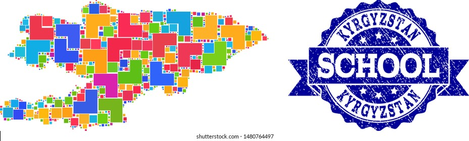 Mosaic puzzle map of Kyrgyzstan and rubber school seal with ribbon. Vector map of Kyrgyzstan constructed with bright colored square and corner blocks. Vector seal with corroded rubber texture,
