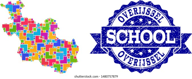Mosaic puzzle map of Overijssel Province and grunge school seal stamp with ribbon. Vector map of Overijssel Province designed with colorful square and corner elements.
