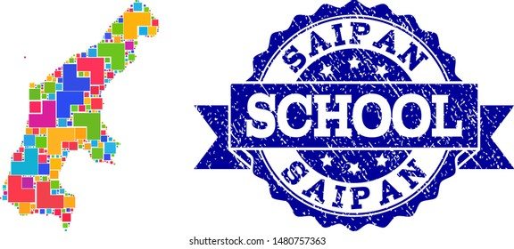 Mosaic puzzle map of Saipan Island and unclean school seal stamp with ribbon. Vector map of Saipan Island constructed with bright colored square and corner blocks.