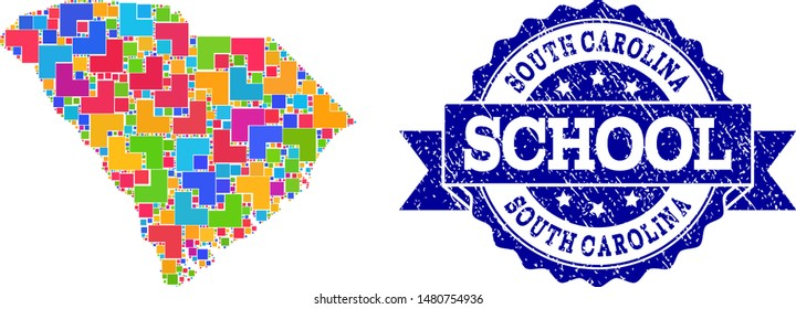 Mosaic puzzle map of South Carolina State and unclean school stamp with ribbon. Vector map of South Carolina State designed with colorful square and corner blocks.
