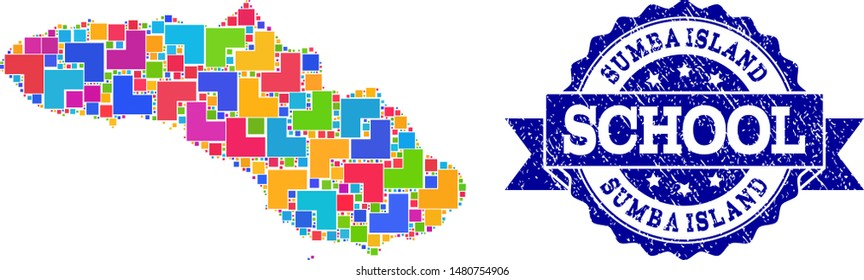 Mosaic puzzle map of Sumba Island and rubber school seal stamp with ribbon. Vector map of Sumba Island constructed with bright colored square and corner blocks. Vector seal with grunge rubber texture,