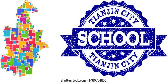 Mosaic puzzle map of Tianjin Municipality and unclean school seal with ribbon. Vector map of Tianjin Municipality constructed with colorful square and corner elements.
