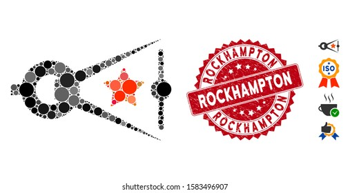 Mosaic quality inspection icon and rubber stamp seal with Rockhampton caption. Mosaic vector is composed with quality inspection icon and with randomized circle items.