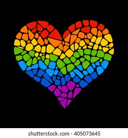 Mosaic rainbow heart on black background. LGBT logo. Gay culture sign. Design element for poster, banner, flyer, greeting card, pride.