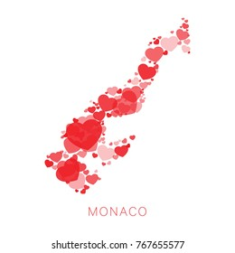 mosaic of red hearts of different sizes and degrees of transparency in shape of map of monaco on white background