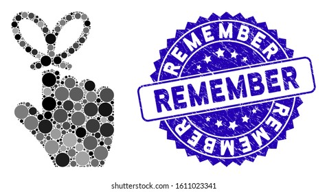 Mosaic remember knot icon and corroded stamp seal with Remember caption. Mosaic vector is created with remember knot pictogram and with randomized spheric items. Remember seal uses blue color,