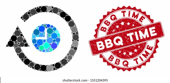 Mosaic repeat clock and grunge stamp seal with BBQ Time text. Mosaic vector is created with repeat clock icon and with random circle items. BBQ Time stamp seal uses red color, and grunge design.