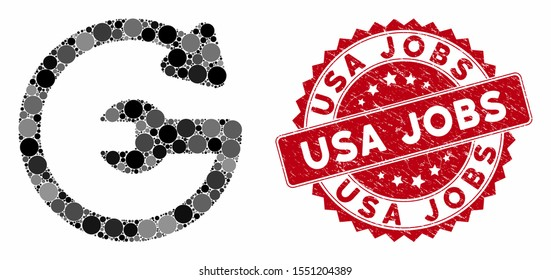 Mosaic repeat service and rubber stamp seal with USA Jobs caption. Mosaic vector is composed with repeat service icon and with random spheric items. USA Jobs stamp seal uses red color,