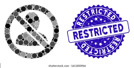Mosaic restricted user icon and corroded stamp watermark with Restricted phrase. Mosaic vector is created with restricted user icon and with random round items. Restricted stamp uses blue color,