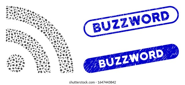 Mosaic rss and rubber stamp seals with Buzzword caption. Mosaic vector rss is composed with randomized elliptic elements. Buzzword stamp seals use blue color, and have round rectangle shape.