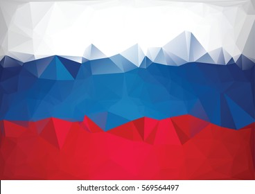 Mosaic russian flag. Low poly style background