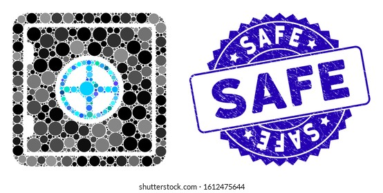 Mosaic safe icon and grunge stamp seal with Safe phrase. Mosaic vector is designed with safe icon and with randomized circle elements. Safe stamp uses blue color, and distress texture.