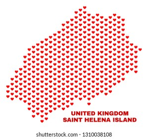 Mosaic Saint Helena Island map of love hearts in red color isolated on a white background. Regular red heart pattern in shape of Saint Helena Island map. Abstract design for Valentine illustrations.