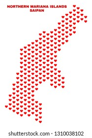 Mosaic Saipan Island map of heart hearts in red color isolated on a white background. Regular red heart pattern in shape of Saipan Island map. Abstract design for Valentine decoration.