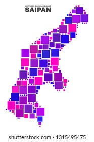 Mosaic Saipan Island map isolated on a white background. Vector geographic abstraction in pink and violet colors. Mosaic of Saipan Island map combined of random square items.