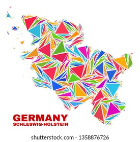 Mosaic Schleswig-Holstein Land map of triangles in bright colors isolated on a white background. Triangular collage in shape of Schleswig-Holstein Land map. Abstract design for patriotic purposes.
