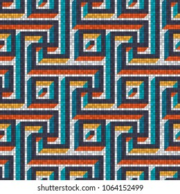 mosaic seamless pattern in antique roman style. vector illustration - eps 10