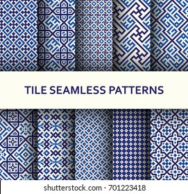 Mosaic seamless patterns set. Modern geometric textures. Vector illustration.