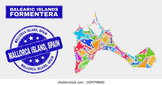 Mosaic service Formentera Island map and Mallorca Island, Spain seal stamp. Formentera Island map collage made with scattered bright equipment, palms, security symbols. Blue round Mallorca Island,