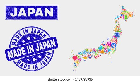 Mosaic service Japan map and Made in Japan stamp. Japan map collage created with random colored tools, hands, service symbols. Blue round Made in Japan seal stamp with grunge texture.