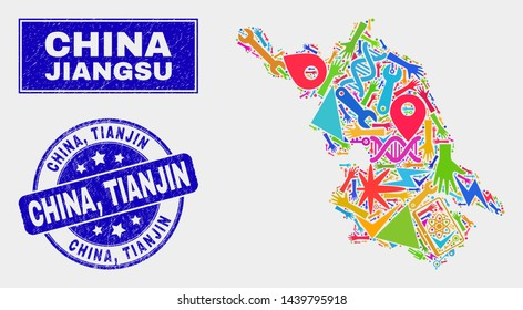 Mosaic service Jiangsu Province map and China, Tianjin seal stamp. Jiangsu Province map collage designed with random bright tools, hands, industry elements. Blue round China,