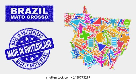 Mosaic service Mato Grosso State map and Made in Switzerland seal stamp. Mato Grosso State map collage composed with scattered colorful tools, hands, security items.