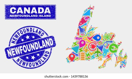 Mosaic service Newfoundland Island map and Newfoundland seal stamp. Newfoundland Island map collage designed with random colorful tools, palms, service elements.