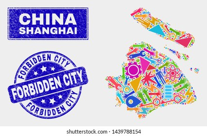 Mosaic service Shanghai City map and Forbidden City seal stamp. Shanghai City map collage made with random colorful tools, palms, security elements.