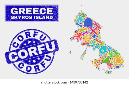 Mosaic service Skyros Island map and Corfu watermark. Skyros Island map collage created with scattered bright equipment, hands, service items. Blue round Corfu watermark with grunge texture.