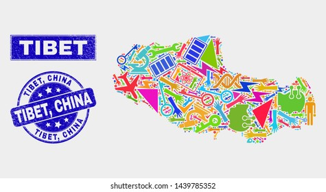 Mosaic service Tibet map and Tibet, China seal. Tibet map collage made with random bright equipment, hands, security items. Blue rounded Tibet, China seal stamp with unclean texture.