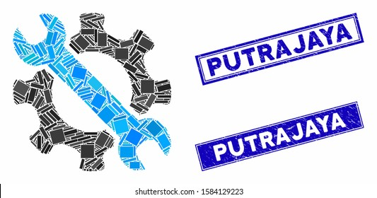 Mosaic service tools icon and rectangle Putrajaya seal stamps. Flat vector service tools mosaic icon of random rotated rectangular elements. Blue Putrajaya seal stamps with corroded texture.