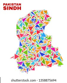 Mosaic Sindh Province map of triangles in bright colors isolated on a white background. Triangular collage in shape of Sindh Province map. Abstract design for patriotic decoration.
