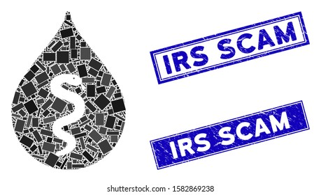Mosaic snake oil icon and rectangular Irs Scam seal stamps. Flat vector snake oil mosaic icon of random rotated rectangular elements. Blue Irs Scam rubber seals with rubber surface.
