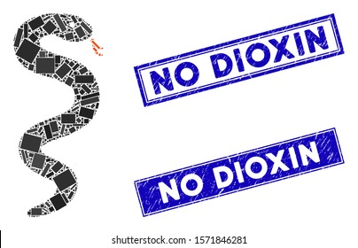 Mosaic snake pictogram and rectangular No Dioxin seal stamps. Flat vector snake mosaic pictogram of randomized rotated rectangular elements. Blue No Dioxin rubber stamps with grunge texture.