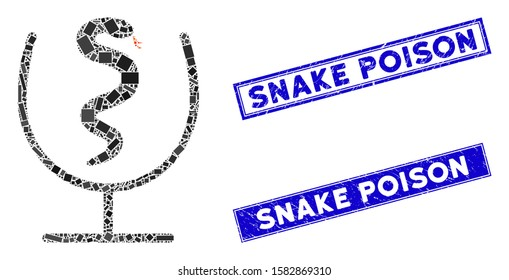 Mosaic snake poison pictogram and rectangle Snake Poison seals. Flat vector snake poison mosaic pictogram of scattered rotated rectangle elements. Blue Snake Poison seals with distress surface.