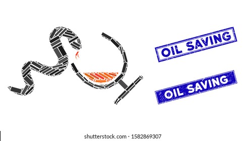 Mosaic snake toxin pictogram and rectangle Oil Saving seal stamps. Flat vector snake toxin mosaic pictogram of randomized rotated rectangle items. Blue Oil Saving seal stamps with distress textures.
