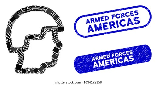 Mosaic soldier head and corroded stamp seals with Armed Forces Americas text. Mosaic vector soldier head is designed with randomized rectangle items. Armed Forces Americas seals use blue color,