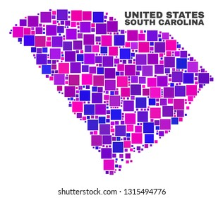 Mosaic South Carolina State map isolated on a white background. Vector geographic abstraction in pink and violet colors. Mosaic of South Carolina State map combined of scattered square elements.