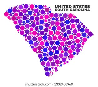 Mosaic South Carolina State map isolated on a white background. Vector geographic abstraction in pink and violet colors. Mosaic of South Carolina State map combined of random spheric points.