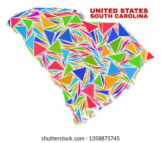 Mosaic South Carolina State map of triangles in bright colors isolated on a white background. Triangular collage in shape of South Carolina State map. Abstract design for patriotic decoration.