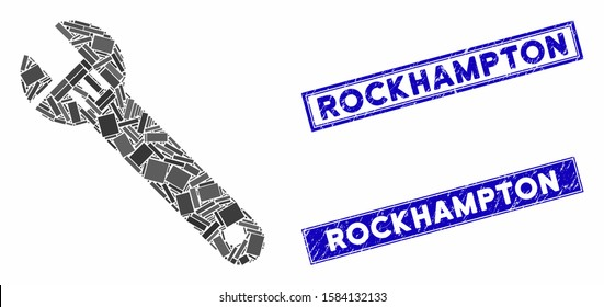 Mosaic spanner pictogram and rectangular Rockhampton seals. Flat vector spanner mosaic pictogram of scattered rotated rectangular items. Blue Rockhampton rubber seals with rubber surface.