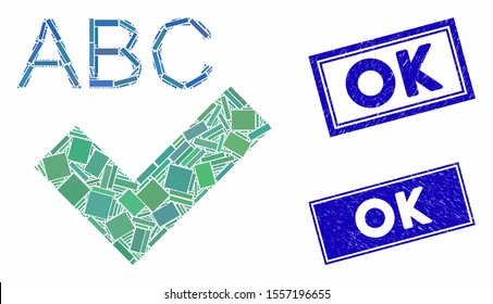 Mosaic spell checking pictogram and rectangle watermarks. Flat vector spell checking mosaic pictogram of scattered rotated rectangle elements. Blue caption watermarks with distress surface.