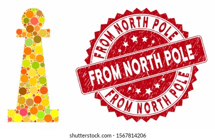 Mosaic Stanchion and rubber stamp seal with From North Pole text. Mosaic vector is composed with Stanchion icon and with scattered round spots. From North Pole stamp seal uses red color,